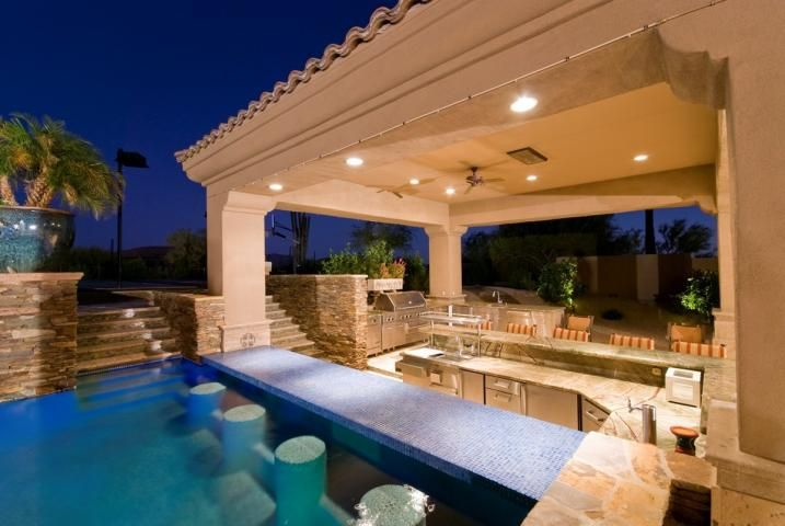 Home Pool Bar Designs House With Swim Up Bar Design Outdoor Kitchen ...