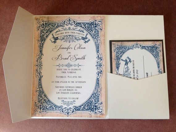 French romantic  vintage wedding invitation and by CupidDesigns, $450.00