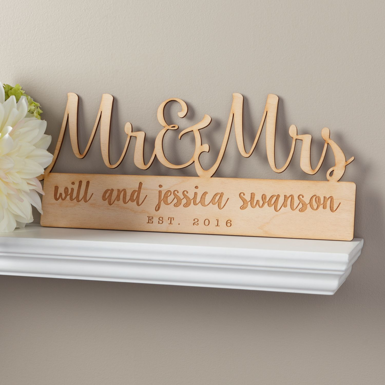 Wedding Gifts Mr And Mrs: Mr. & Mrs. Personalized Wood Plaque