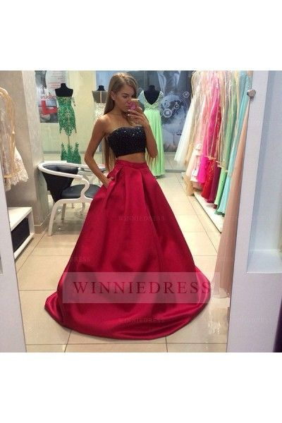 Black Sequined Top Red Skirt Two Piece Prom Dress With Pockets 2