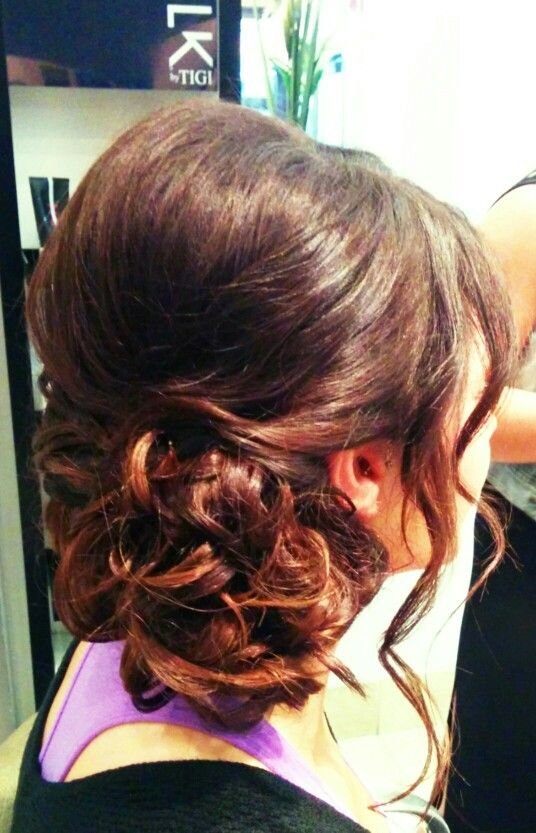 Side updo, for prom or wedding or any formal occasion
