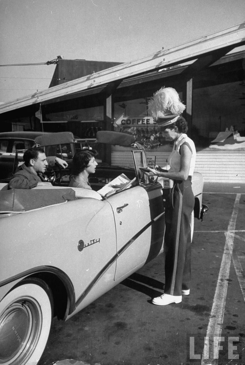 Carhop taking an order during lunch hour. Hollywood, 1954