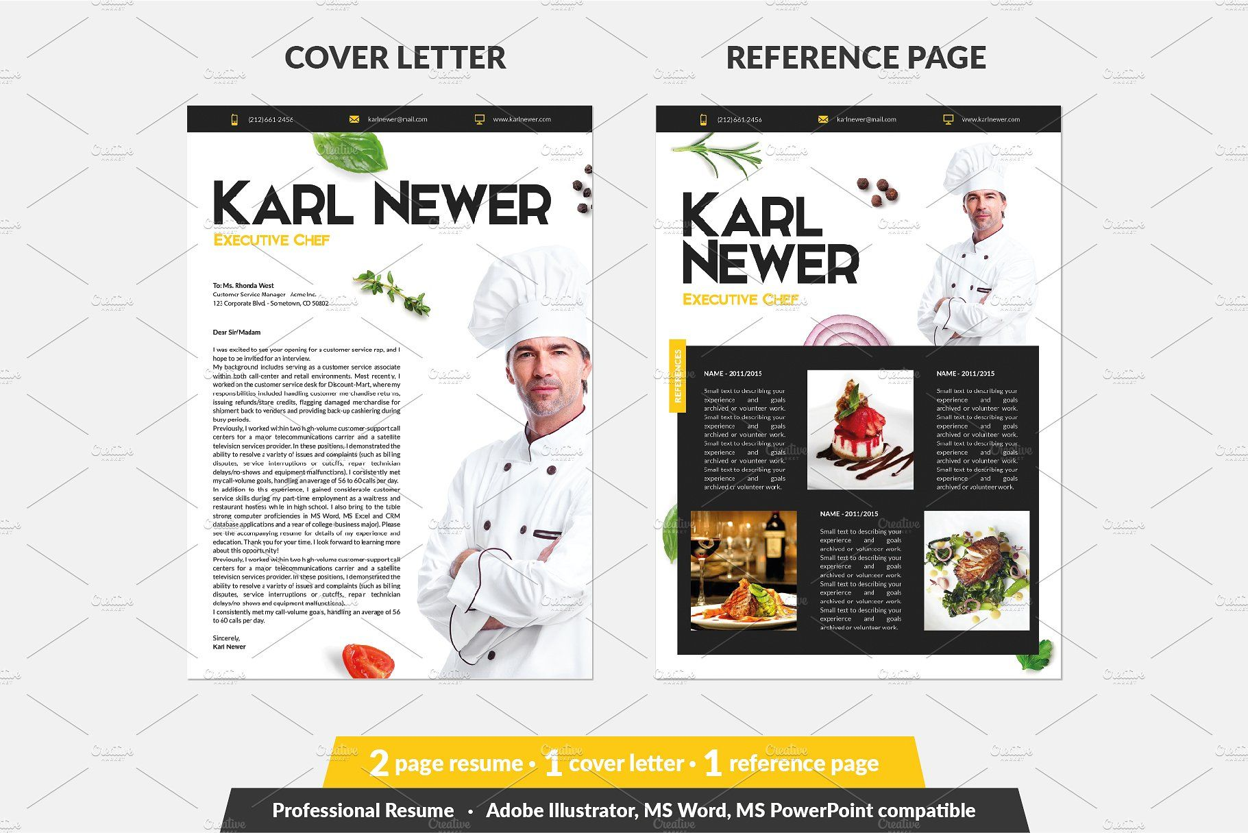 Executive Chef Resume Template #sized#Font#font#Install ...