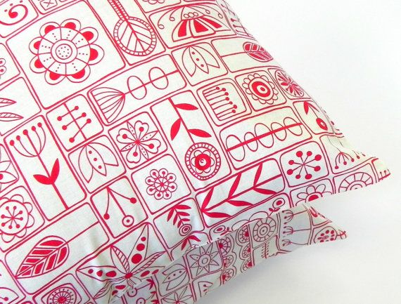 Pillow Covers. Set of Two 16x16. Red and Cream Scandi Moda floral fabric via Etsy.