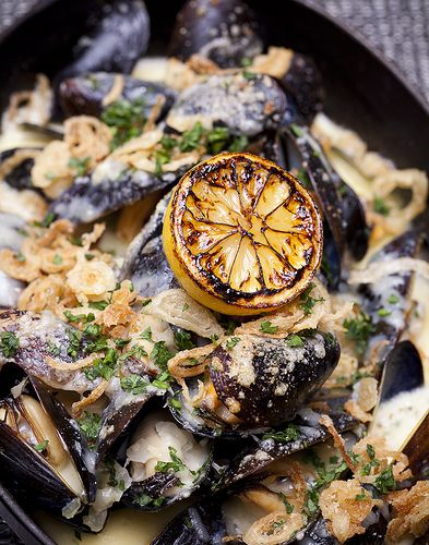 grilled mussels with lemon and shallots