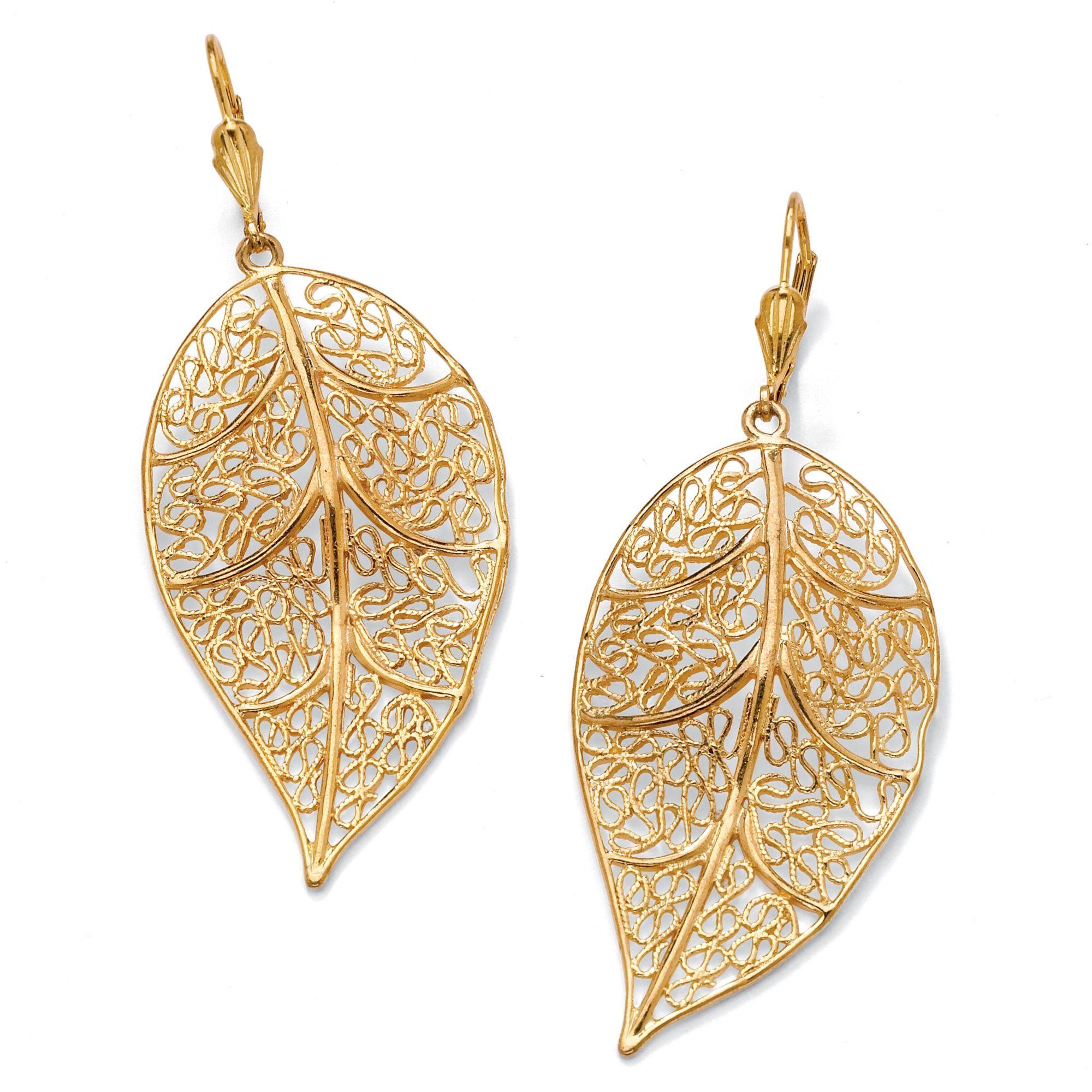 Filigree Leaf Drop Pierced Earrings in 14k GoldPlated Jewelery