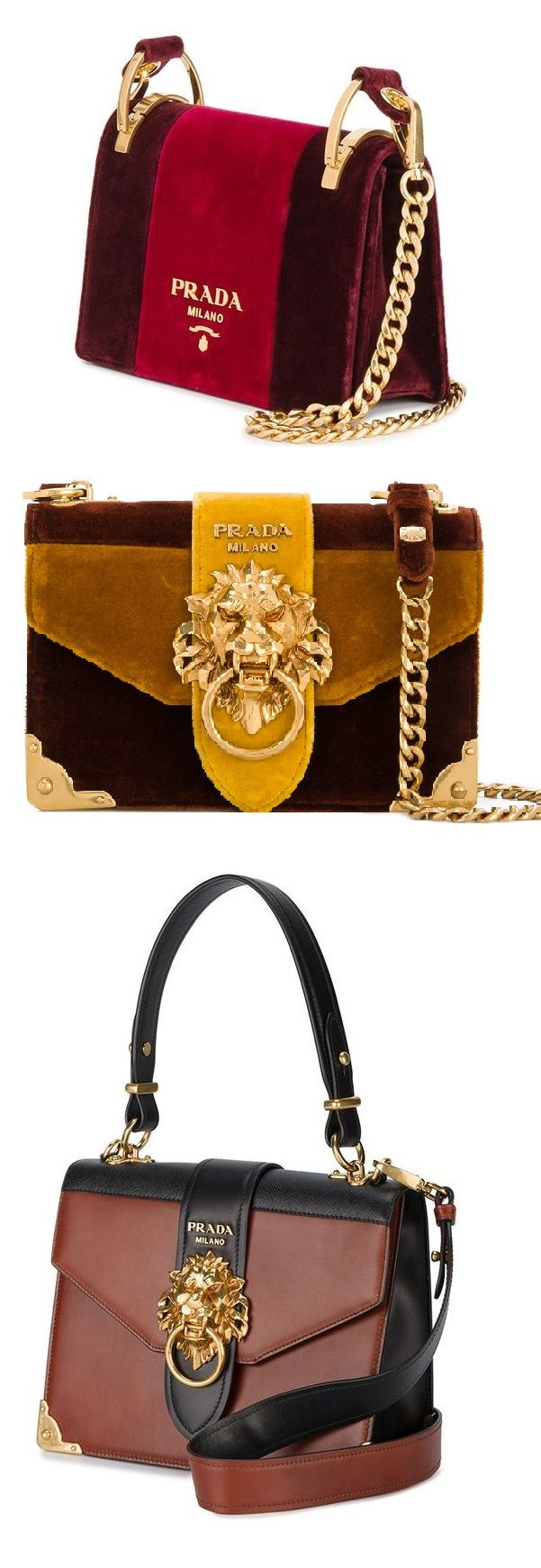 95b86f695bd5 PRADA Pattina velvet shoulder bag/ PRADA Cahier lion-embellished shoulder  bag/ PRADA animalier lion head shoulder bag