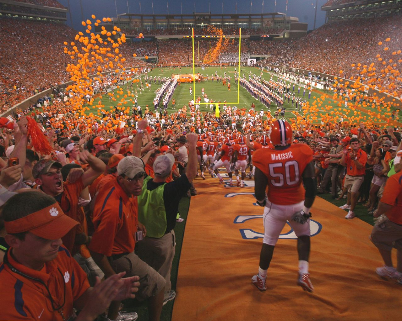 Clemson Game Day Tradition For The Players To Run Down The Hill Clemson Clemson University Clemson Tigers Football