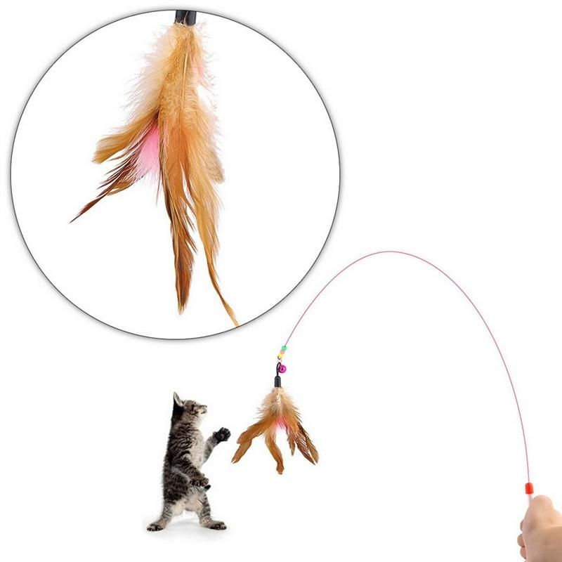 Interactive Funny Cat Kitten Teaser Feather Wire Chaser Pet Toy Rod Beads