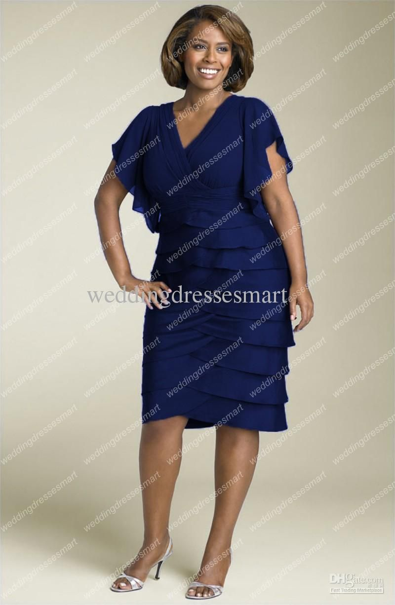Plus Size Taffeta Sheath V Neck Tiered Knee Length Mother Of The