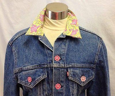 Levis-Floral-Embellished-Denim-Jean-Jacket-Turtle-Pink-Yellow-Stripe-Trucker-USA