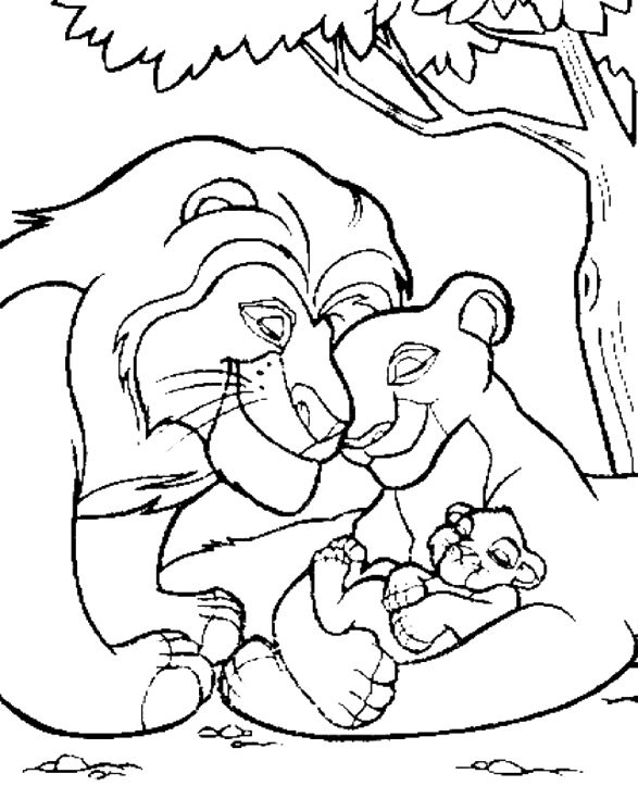 Simba The Lion King With Family Coloring Pages Coloring pages