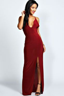 f19e63ca7c1a Plunge Neck Front Split Maxi Dress | Christmas Dinner | Strappy maxi ...