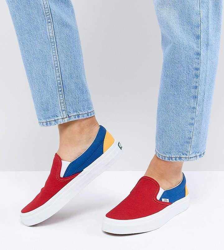8785f6c26b2 Vans Slip On Sneakers In Primary Color Block