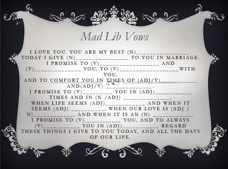 Bridal shower mad libs wedding vows
