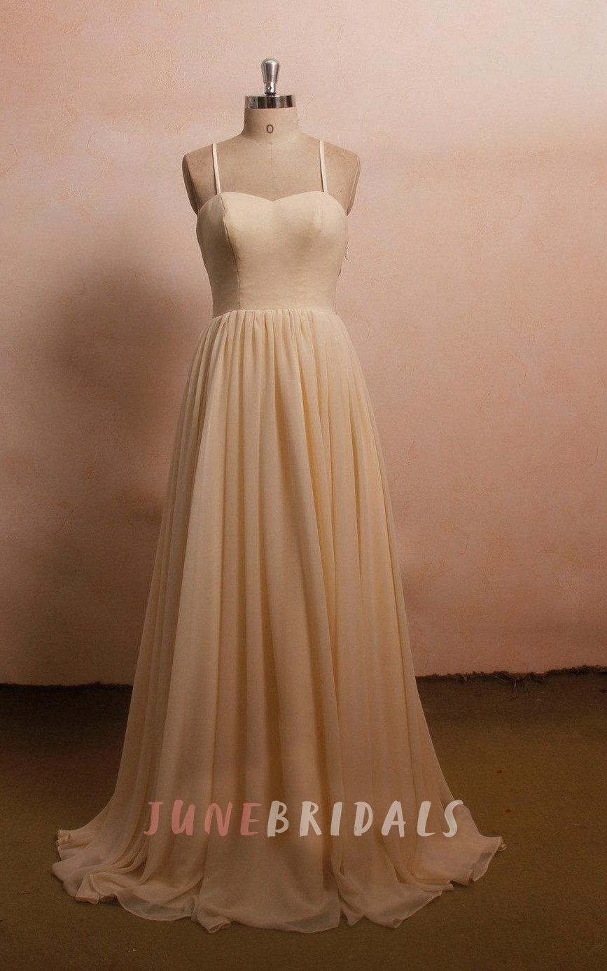 Open Back Lace Wedding Chiffon Wedding Champagne Wedding Dress