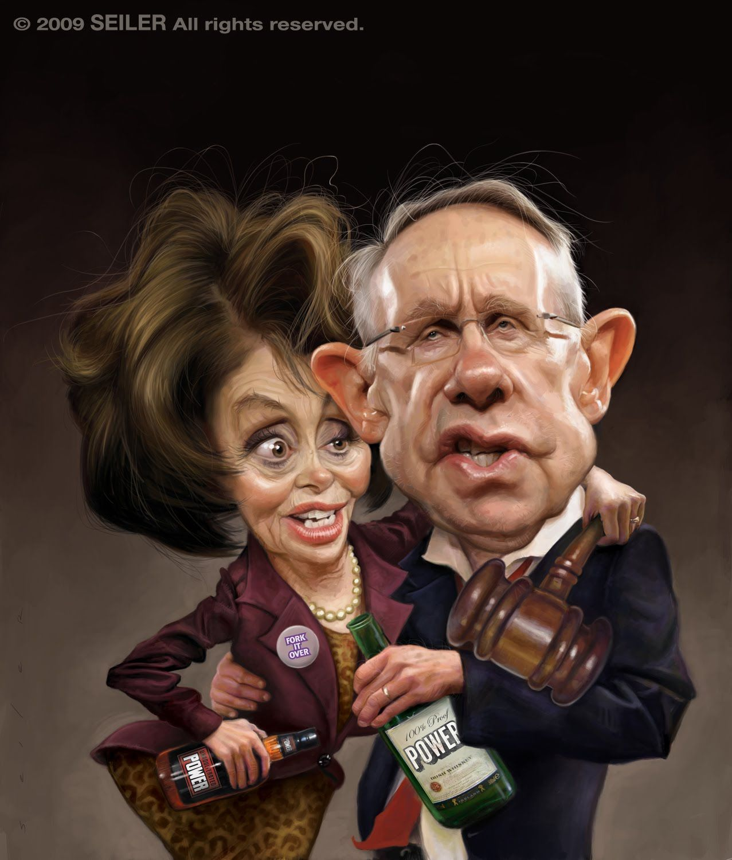 Nancy Pelosi Harry Reid By Jason Seiler Us Funny Caricatures Caricature Celebrity Art