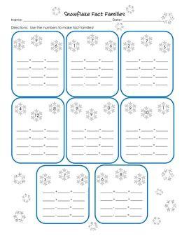 snowflake fact families first grade 1 oa 3 winter fun worksheet 1 0a 3 fact families. Black Bedroom Furniture Sets. Home Design Ideas