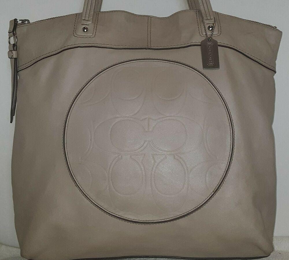 19e349e1 Coach Laura Signature leather Large Tote Carry all Bag #F18336 Beige ...