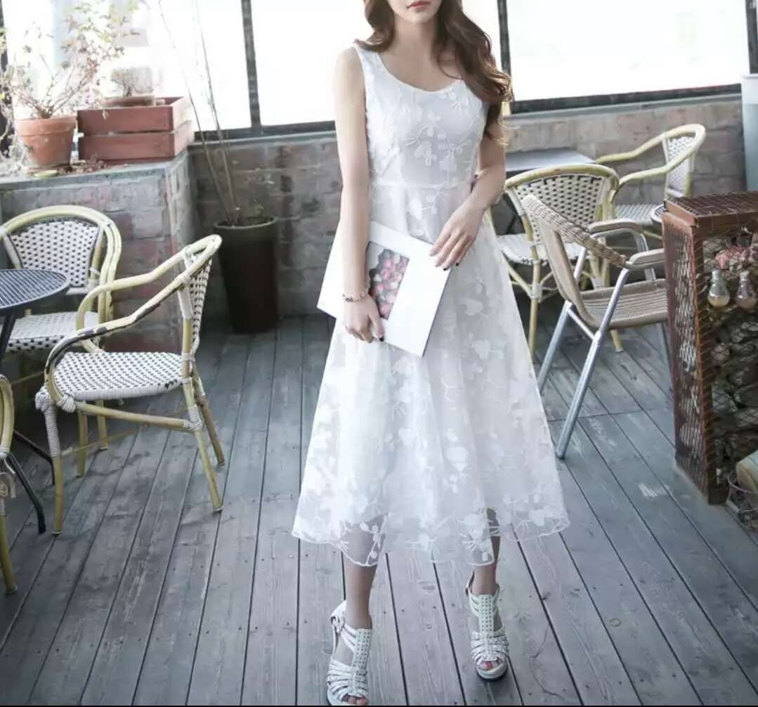 Korean fashion ladies women clothing elegant u grand dress with lace