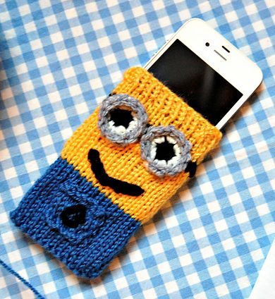 Free Knitting Pattern For Minion Cell Phone Cover Knitting