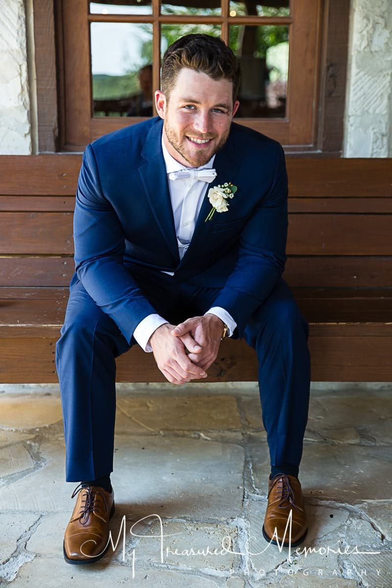 such a handsome groom navy blue suit blush pink bow tie