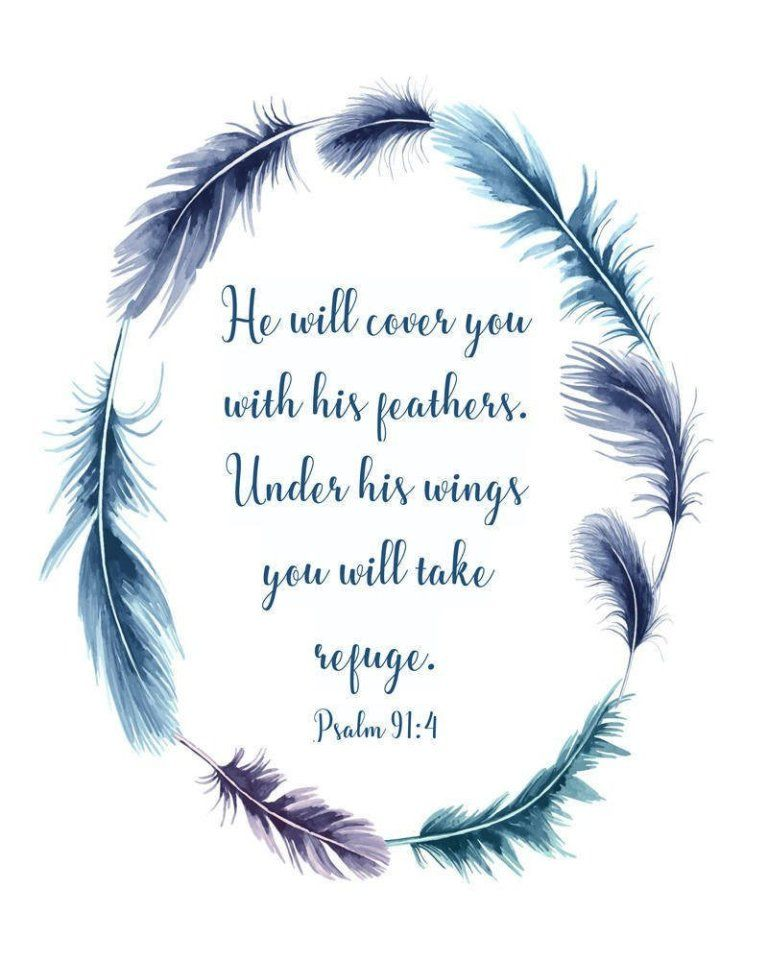 He will cover you with his feathers, Psalm 91:4, digital
