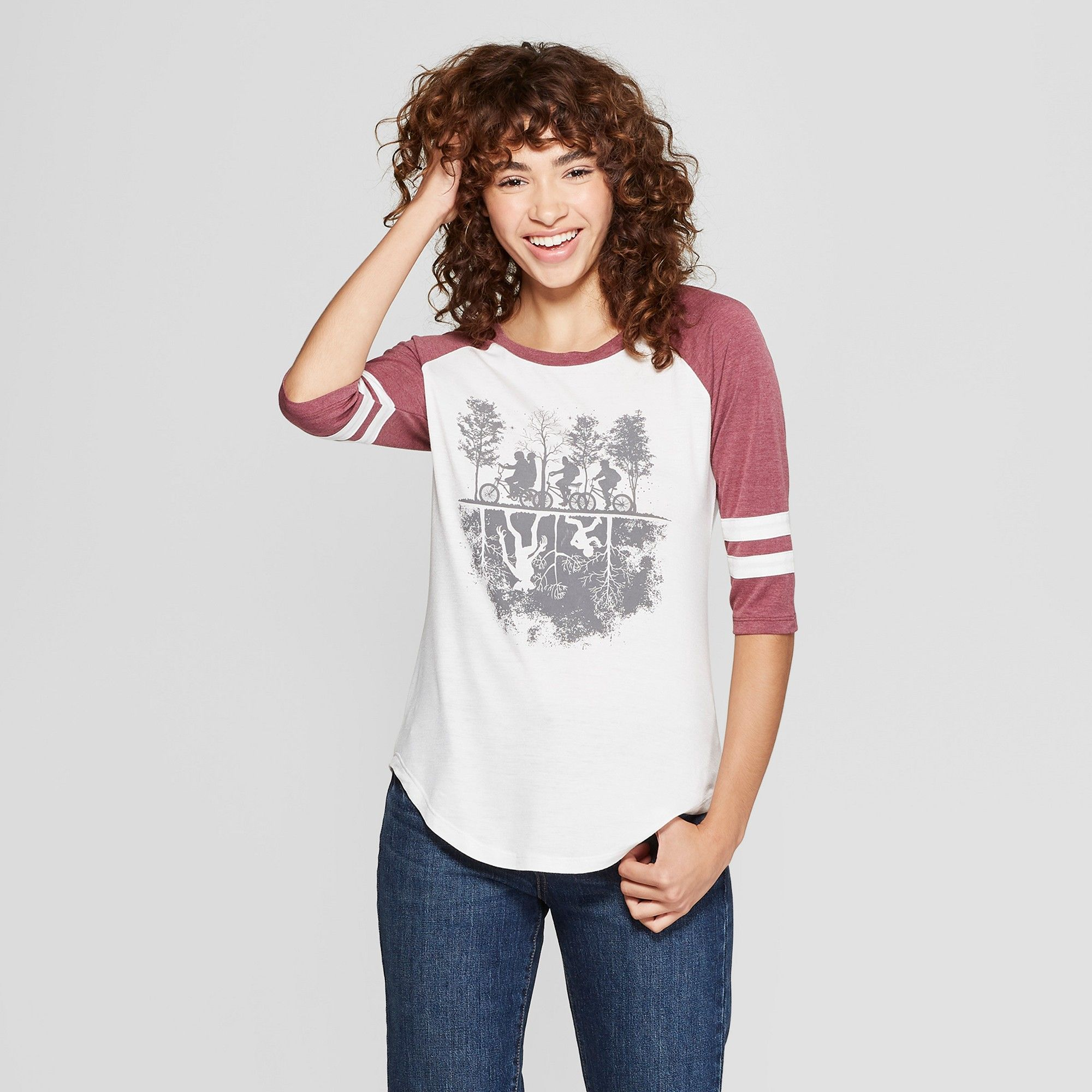 905fb564 Women's Stranger Things 3/4 Sleeve Upside Down Raglan Graphic T-Shirt ( Juniors') Burgundy M, White