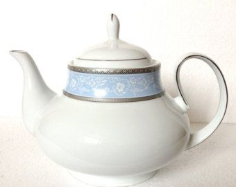 Light Blue White Flower Tea Pot Silver Rim Vintage Gift For Mix And Match Tea Set Bone China Made In England By T Tea Pots Tea Pots Vintage Flower Tea