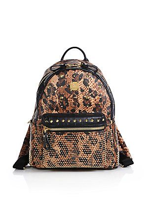 d89e5e0aa295 MCM Small Studded Leopard-Print Backpack | BAGS GALORE | Backpacks ...