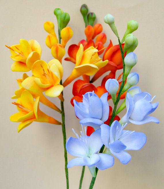 Gumpaste Freesia Sugar Flower Sugar Flowers Flowers Cold Porcelain Flowers