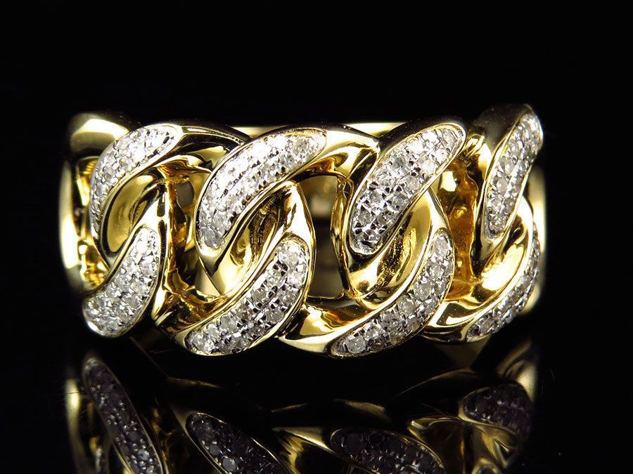 Details About Mens 10k Yellow Gold Over Vvs1 Diamond Cuban Link Pinky Ring 0 40 Ct Mens Diamond Wedding Bands Diamond Wedding Bands Pinky Ring