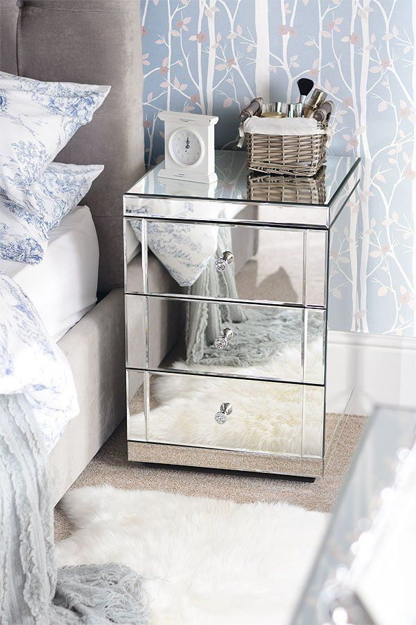 Mirrored Bedside Table With Drawers: LUCIA Toughened Mirrored Bedside Table With 3 Drawers In