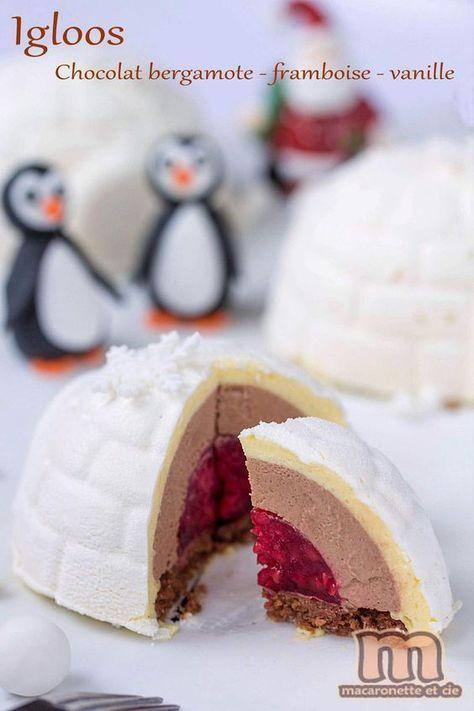 Igloos sur la banquise - entremets individuels framboise-chocolat/bergamote-vanille - Macaronette et cie #repasnouvelan