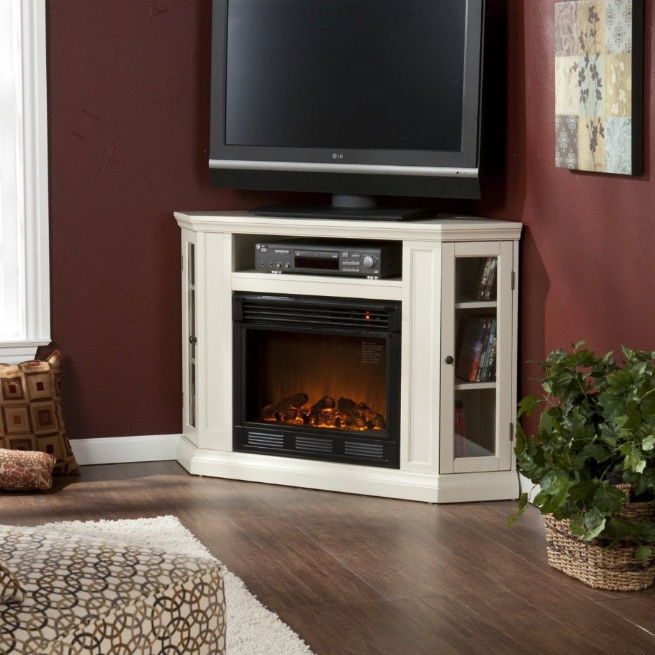 Living Room Tv White Corner Electric Fireplace Entertainment Center