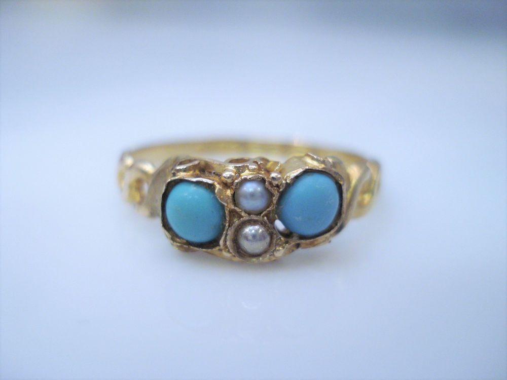1921 ANTIQUE VICTORIAN 15K YELLOW GOLD TURQUOISE & SEEDPEARL RING  | eBay