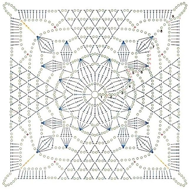 Rustic Lace Square (Free Pattern + Diagram)
