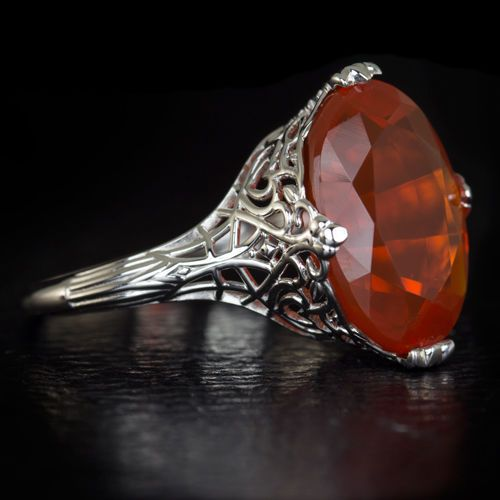 4-5ct-NATURAL-MEXICAN-FIRE-OPAL-LARGE-VINTAGE-FILIGREE-COCKTAIL-RING-14K-W-GOLD