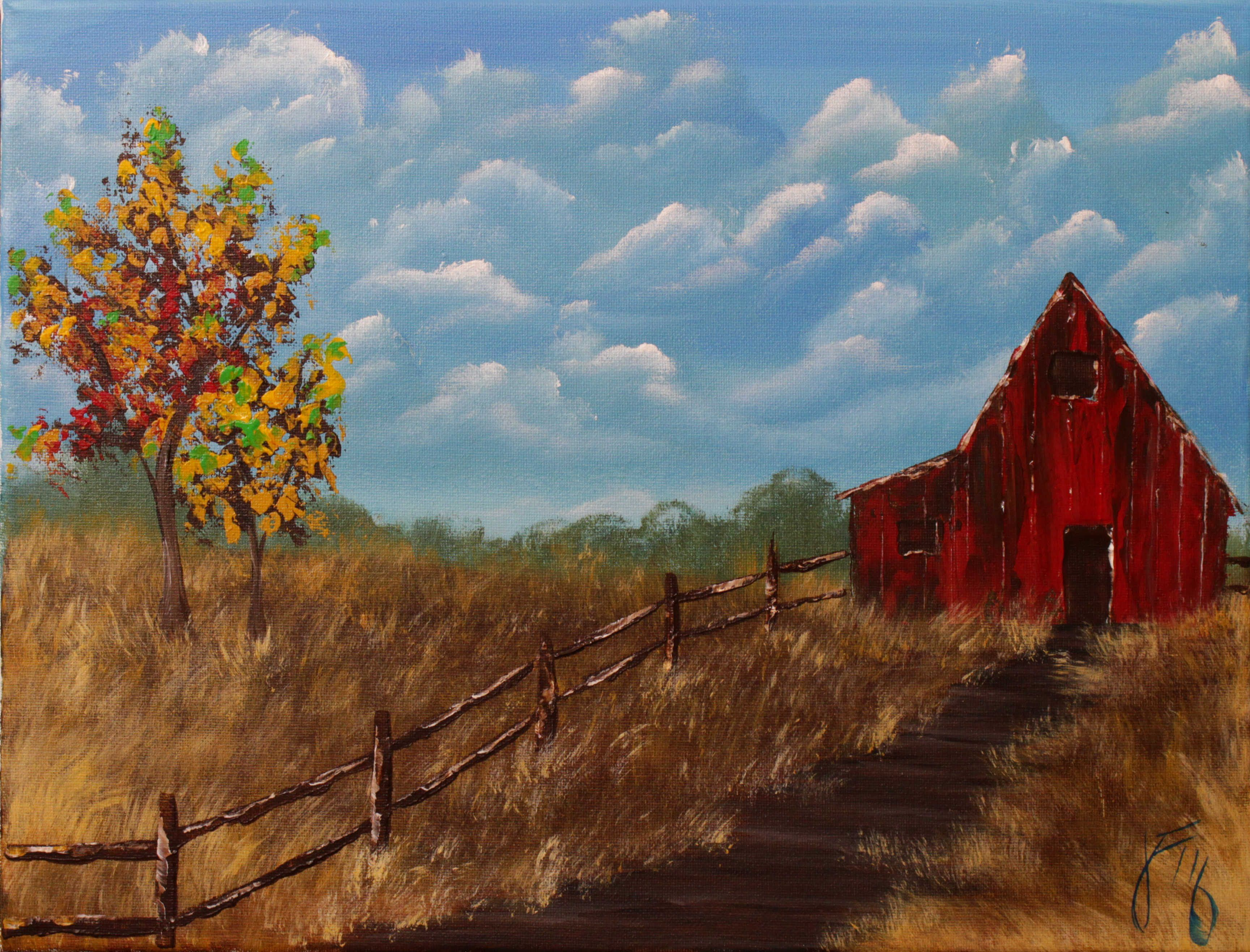 Autumn Barn Step by Step Acrylic Painting on Canvas for Beginners ...