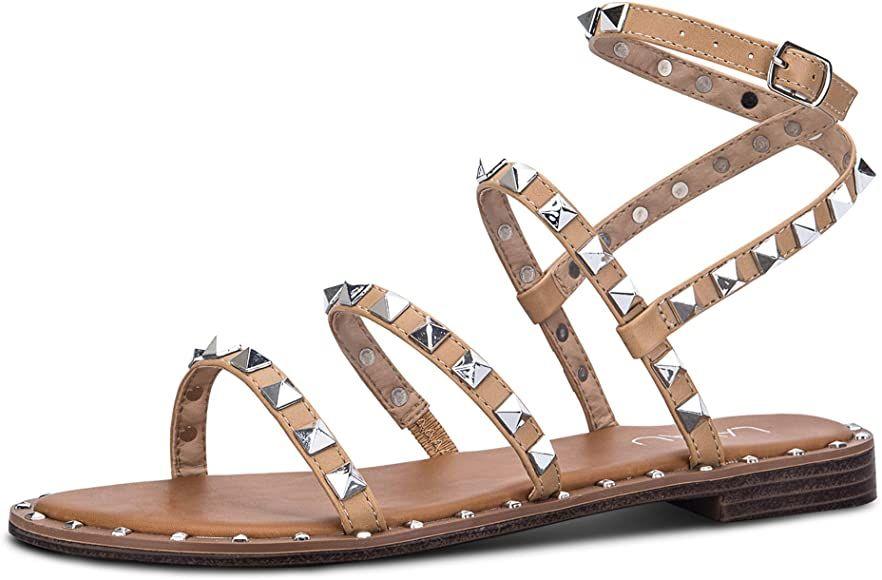 LAVAU Studded Gladiator Flat Sandals
