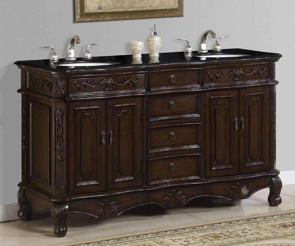 60 Inch Double Sink Vanity with Black Granite Top Item