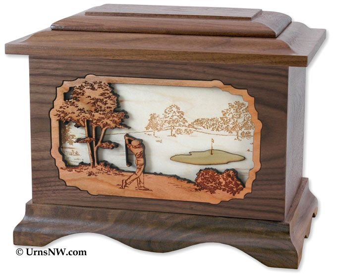 Golf Cremation Urn with Dimensional Inlay Art. Wood cremation urns made in the USA. #golfer #golf