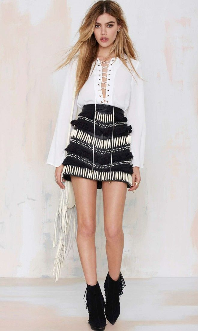 Image result for lace up shirt black fringe skirt