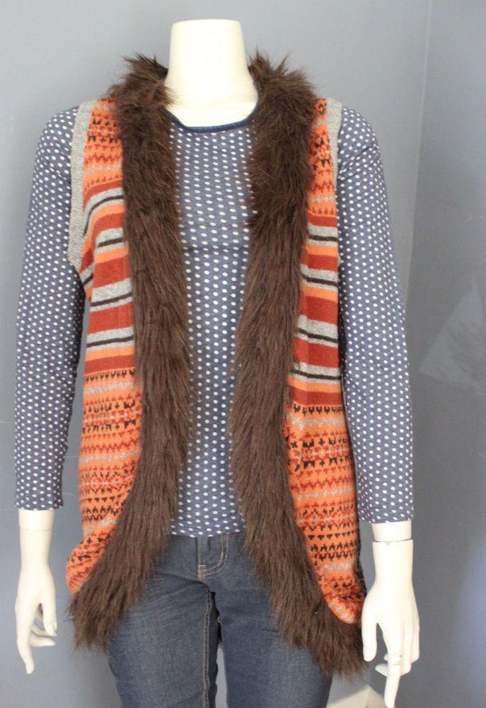 Forever 21 Boutique Sweater Vest Open Fair Isle Orange Gray Faux Fur Cotton M #FOREVER21 #VestSleeveless