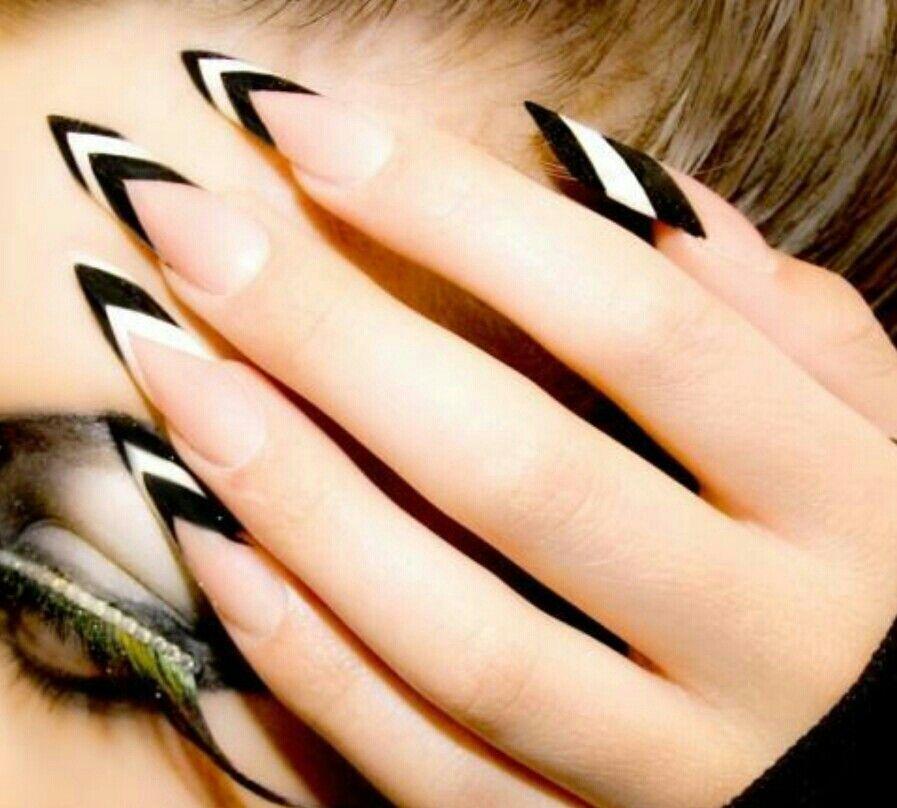 Muy atrevidas   nail art   Pinterest   Black stiletto nails, Pointed ...