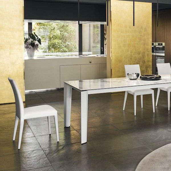 calligaris table rectangulaire extensible delta c ramique verre marbre blanc calligaris un. Black Bedroom Furniture Sets. Home Design Ideas