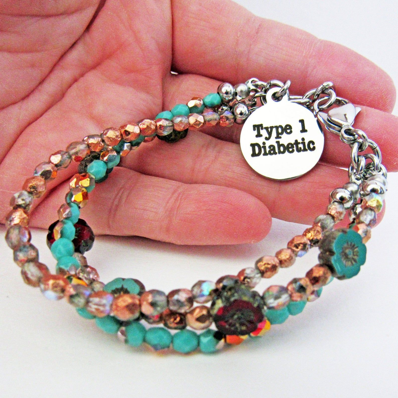 Type 1 Diabetic Medical Alert Id Bracelet Layered Stacking 3 Etsy In 2020 Diabetic Jewelry Layered Bracelets Blue And Copper