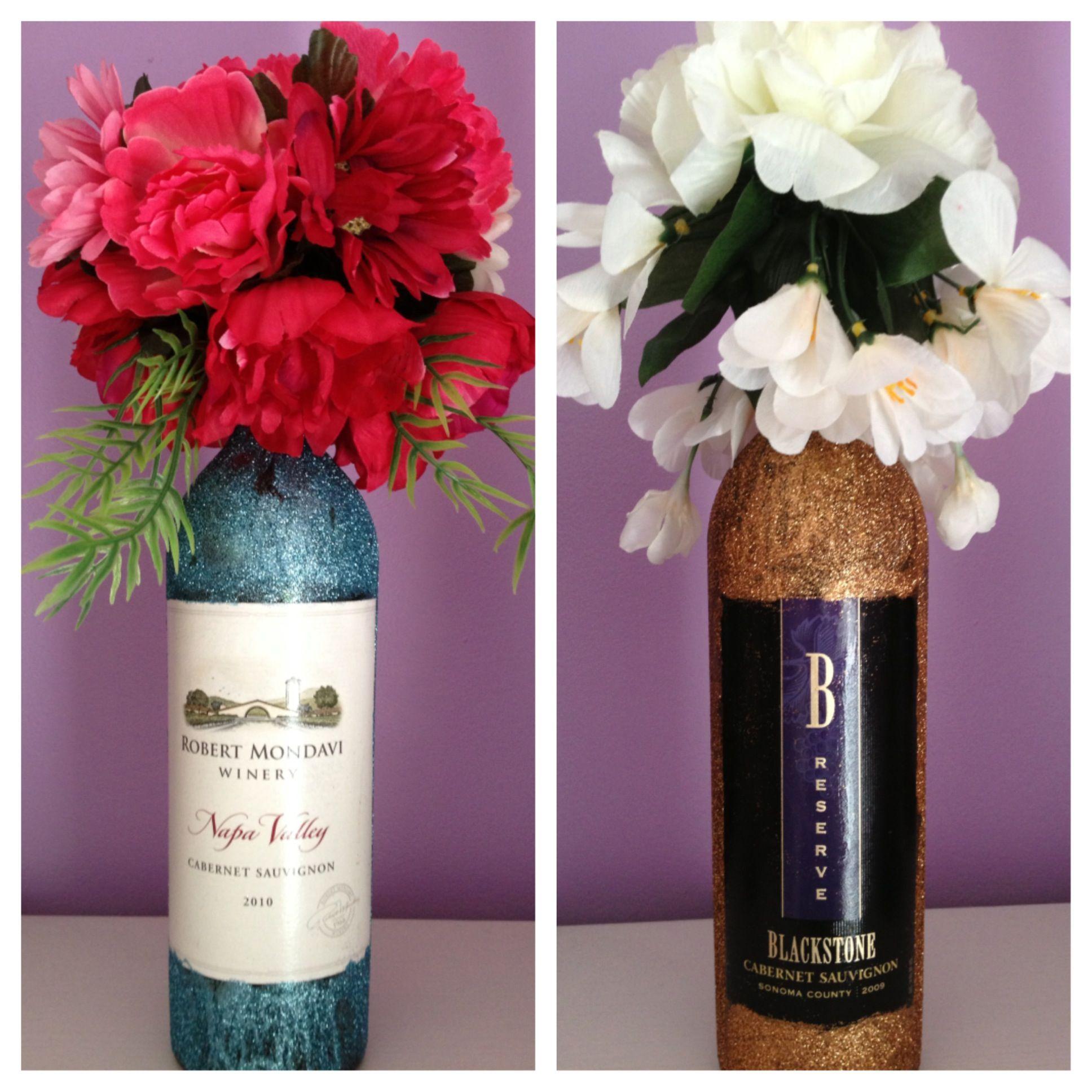 Diy Glitter Wine Bottles Glitter Wine Bottles Wine Bottle Crafts Creative Centerpieces