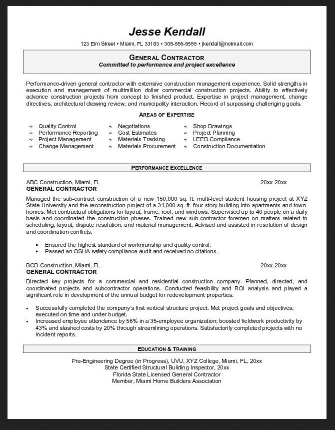 general objective resume sample contractor best template - contractor resume sample
