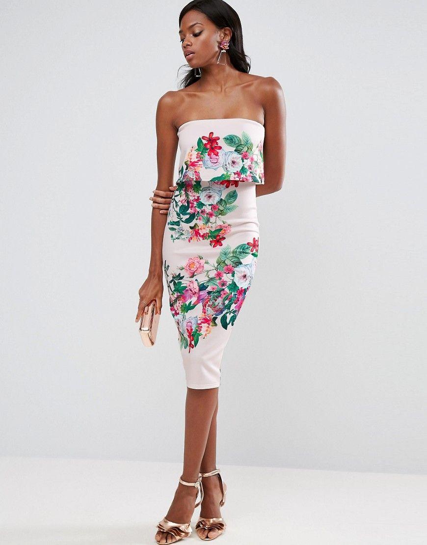 5be21903d6 ASOS Floral Bandeau Crop Top Scuba Midi Dress - Multi